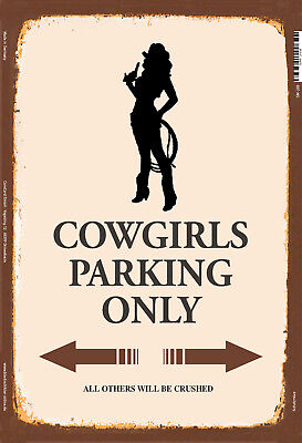 Collectibles Cowgirls Parking Only Metal Sign Signboard Arched Tin 7 7/8x11 13/16in Superior Materials