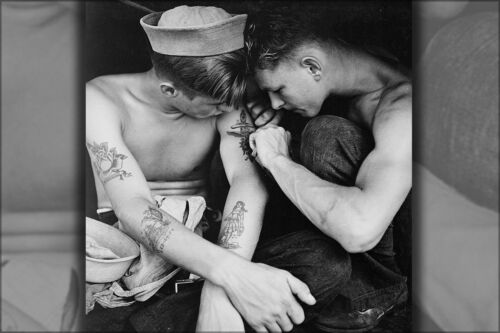 Poster, Many Sizes; Much Tattooed Sailor Aboard The Uss New Jersey 1944
