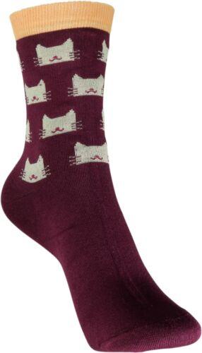 atmungsaktiv Baumwolle weich bunt 33-40 Pealu dünne KATZENGESICHT Socken