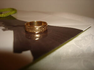 VINTAGE-14K-SOLID-YELLOW-GOLD-WEDDING-UNISEX-BAND-RING-SIGNET-SIZE-8-5-8-75