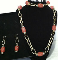 Qvc Gold Plated 3 Pc Set Necklace Earring And Bracelet Orange Resin Agate Stone