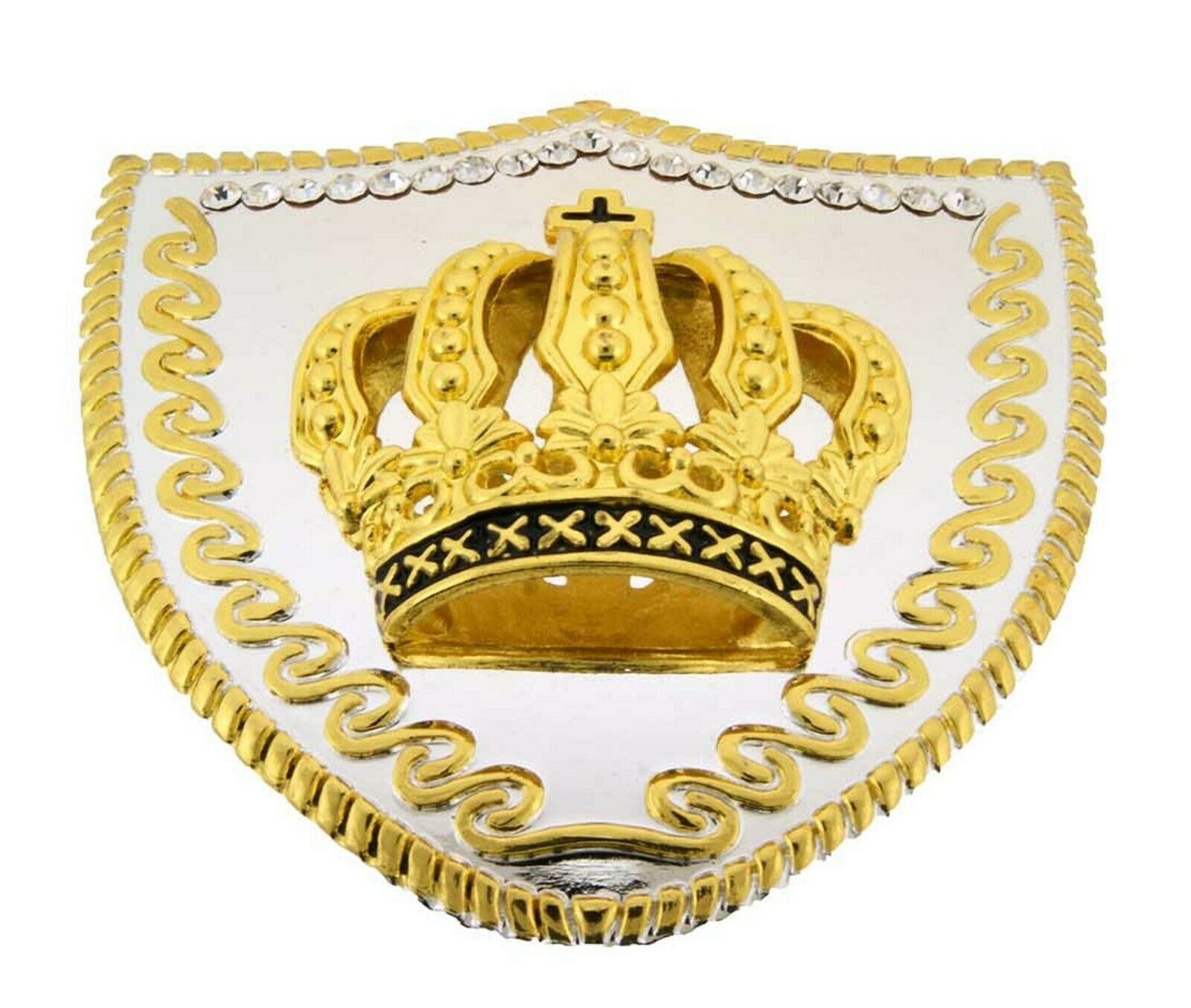 Papa Crown Belt Buckle Feathers Gold Metal Rhinestones High-end Fashion Quality