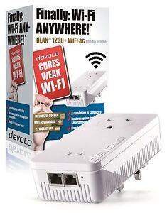 DEVOLO-9385-POWERLINE-DLAN-1200-WiFi-AC-PASS-THRO-SINGLE-ADD-ON-ADAPTER-2-PORTS