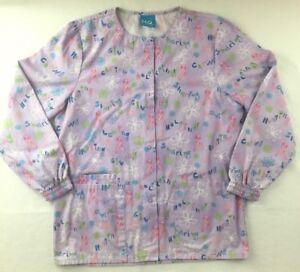 Scrub-HQ-Scrub-Jacket-Size-XS-Lavender-Pink-Ribbon-Flowers-Snap-Nursing-Medical