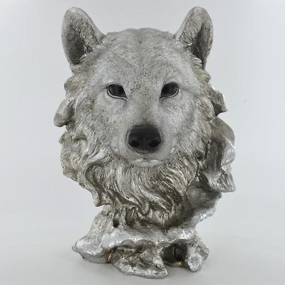 Wolf Head Antique Silver Finish Sculpture Figurine.New