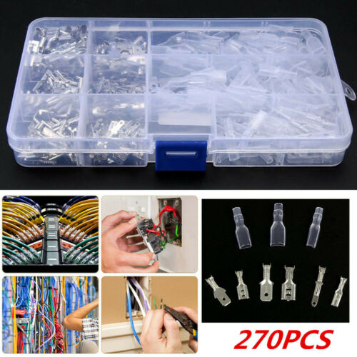 270PCS Male /& Female Insulated Electrical Wire Terminals Crimp Connectors Kit
