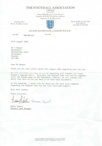 Bobby Robson & Graham Taylor Dual Signed England Football Letter AFTALUACC RD