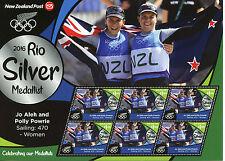 New Zealand NZ 2016 MNH Rio Silver Medal Jo Aleh Sailing 6v M/S Olympics Stamps