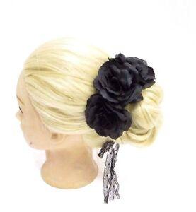 Large Noir Rose Chignon Guirlande Fleur Serre Tete Cheveux Support Surround Wrap Boho 2868 Ebay