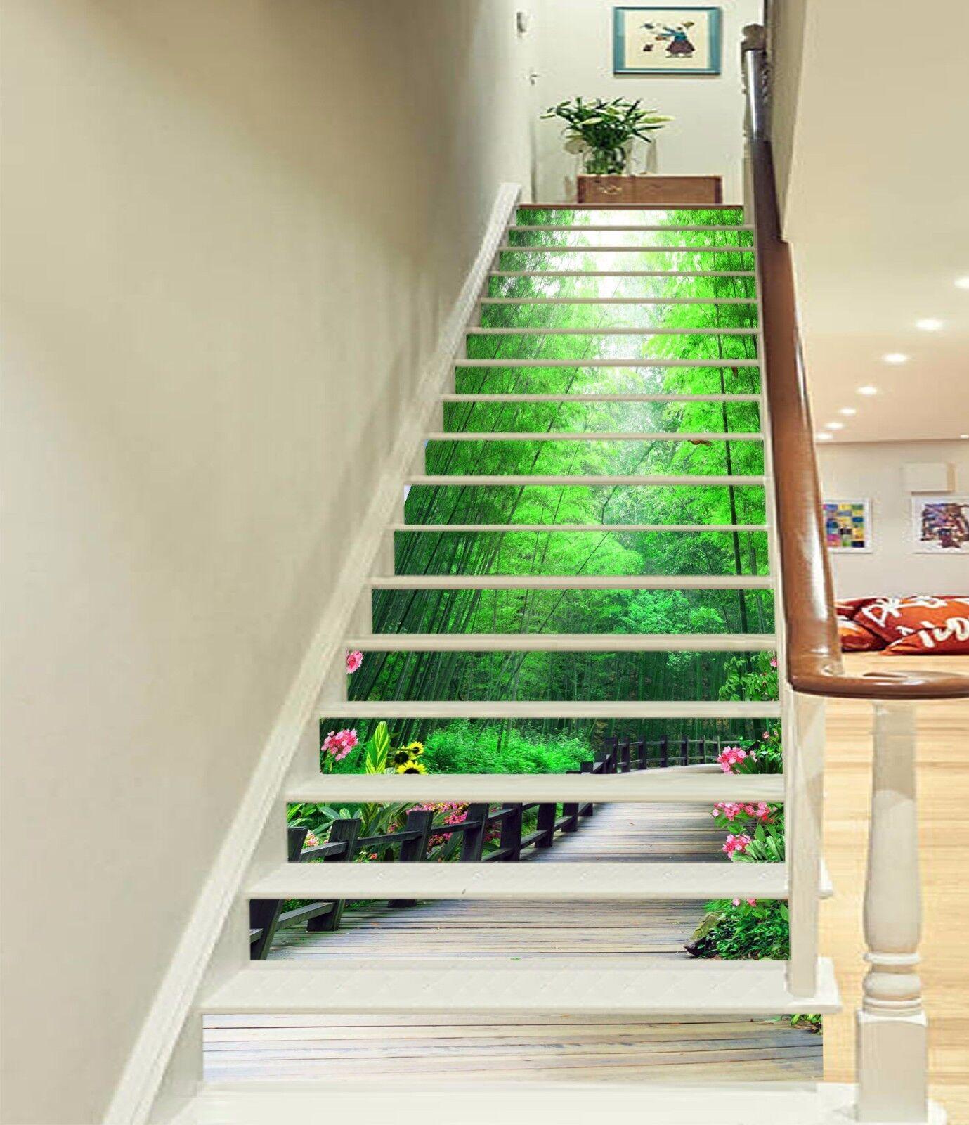 3D Bamboo Flower 426 Risers Decoration Photo Mural Vinyl Decal Wallpaper CA