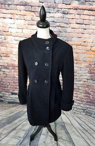 Garnet-Hill-Women-039-s-Black-WOOL-Blend-Lined-Peacoat-Trench-Coat-Jacket-Sz-10-EUC