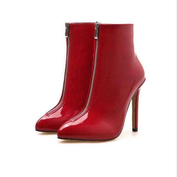 Stivali stivaletti  stiletto 10 cm rosso tronchetto pelle sintetica 1523