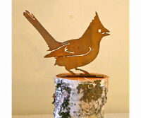 Cardinal Bird Rusty Metal Silhouette Accent For Inside Or Out, Porch, Fence