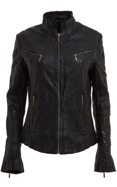 New Stylish Ladies Black Bomber Style Fitted Motorcycle Real Napa Leather Jacket