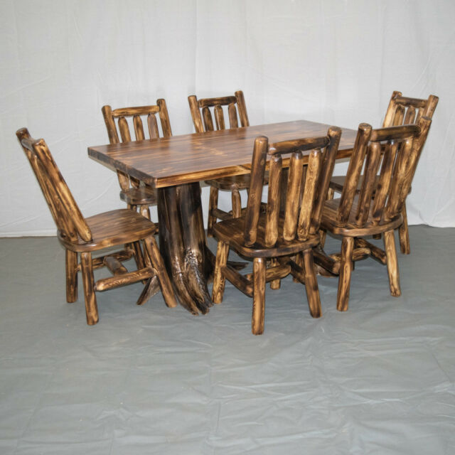 Kitchen Table With 6 Chairs: Northern Torched Cedar Log Kitchen/Dining Table