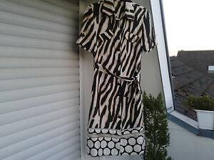 Hemdblusen-Kleid-aus-Seide-von-Ambiente-animal-print-schwarz-weiss-sand-Gr-34