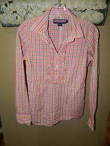 Vineyard-Vines-Ruffled-Womens-Shirt-Top-Plaid-Pink-Size-Small