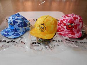 AUTHENTIC APE BAPE x SESAME STREET ABC CAMO SNAP BACK CAP BLUE PINK YELLOW NEW