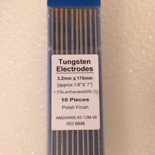 "3.2 X 175mm 1.5/% Lanthanated WL15 Gold TIG Tungsten Electrodes 1//8/"" x 7/"" x10"