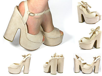 Ladies Women/'s New Glitter Ankle Strap Chunky Wedding Wedge Heel Platform H20441