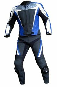 Lederkombi-zweiteilig-schwarz-blau-hochwertig-Zweiteiler-Gr-46-48-50-52-54-56-58
