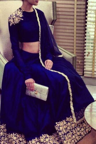 Blue velvet embroidery lehenga choli dupatta lengha blouse ready-made dresses
