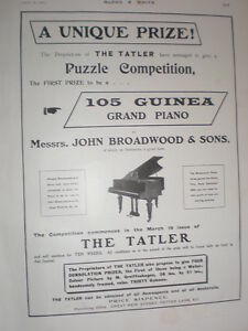 Details about 105 Guinea Grand Piano prize in The Tatler competition advert  1902