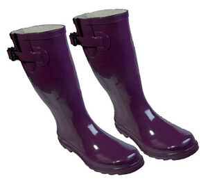 Purple-Design-Rubber-Gumboots-Size-6-7-8-9-10-11-Wellies-Ladies-Boots-New