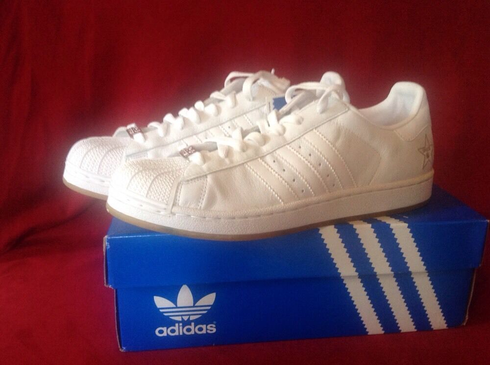 Adidas Originals SUPERSTARS II SIDESTAR White Uomo Shoes Size 10.5 NIB!
