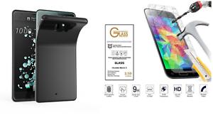 Custodia-per-HTC-U11-Cover-GEL-soft-slim-SILICONE-tpu-PELLICOLA-vetro-TEMPERATO