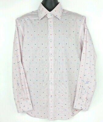 Bugatchi Mens Shaped Fit White Daisies Print Short Sleeve Shirt