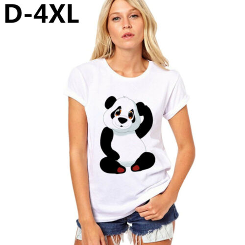Hals Sommer Größe des Plus Lose Bluse Top /& Tee Panda Print T Shirt null O