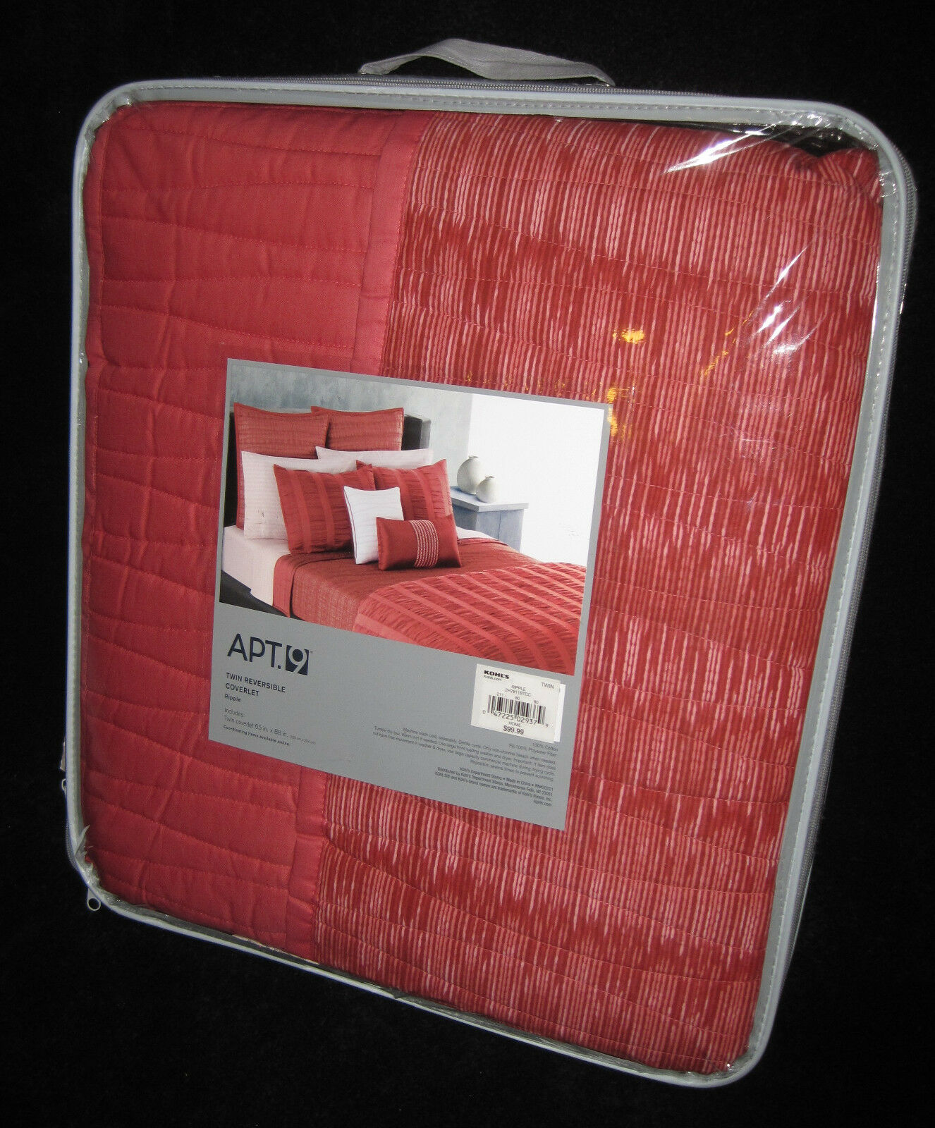 TWIN  -  Apt. 9 - Ripple Coral REVERSIBLE QUILT   COVERLET