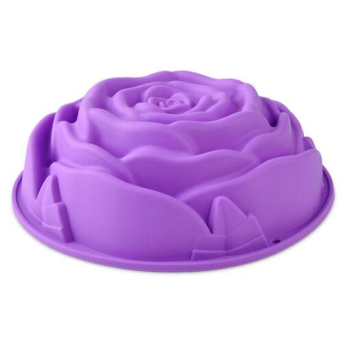 Big Rose Pattern Cake Bread Mold Flan Silicone Baking Mould Tin Bakeware 3D