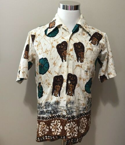 Vintage Hawaiian Tiki Cabana Set Shirt Shorts Tapa