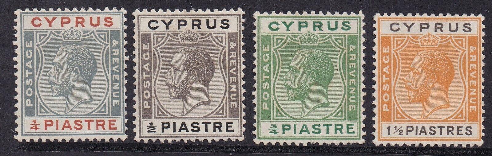 CYPRUS 1924 KGV 1/4PI 1/2PI 3/4PI AND 11/2PI