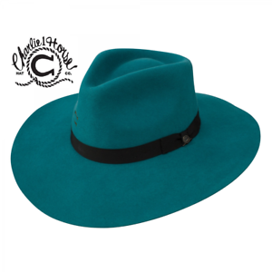 CHARLIE-1-HORSE-Highway-TURQUOISE-Women-039-s-Wool-Western-Hat-w-Feather