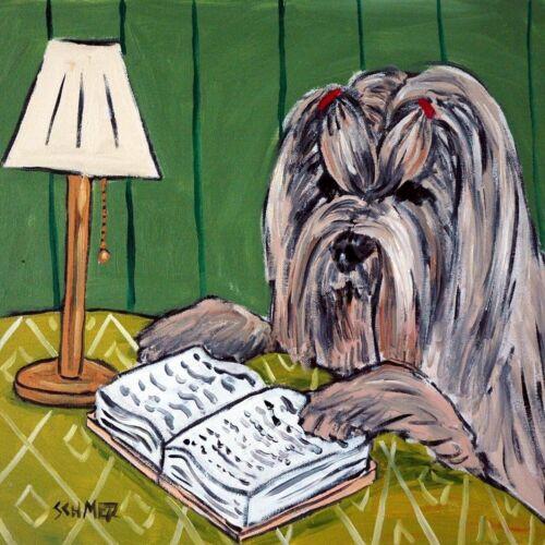 LHASA APSO reading a book dog art tile coaster gift