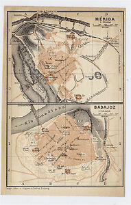 1913 Original Antique City Map Of Merida Badajoz Extremadura
