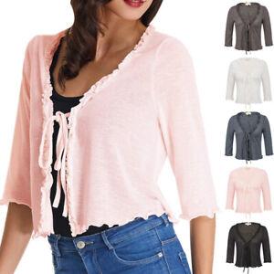 Ladies-Women-3-4-Sleeve-Knitted-Shrug-Bolero-Tops-Cropped-Shirt-Cardigan-Sweater
