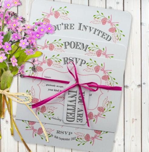 Personalised Vintage Wedding Invitation Set SAMPLE Fantasy Flora/' Pink White