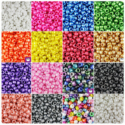 100 x White Opaque Pony Beads 9 x 6mm