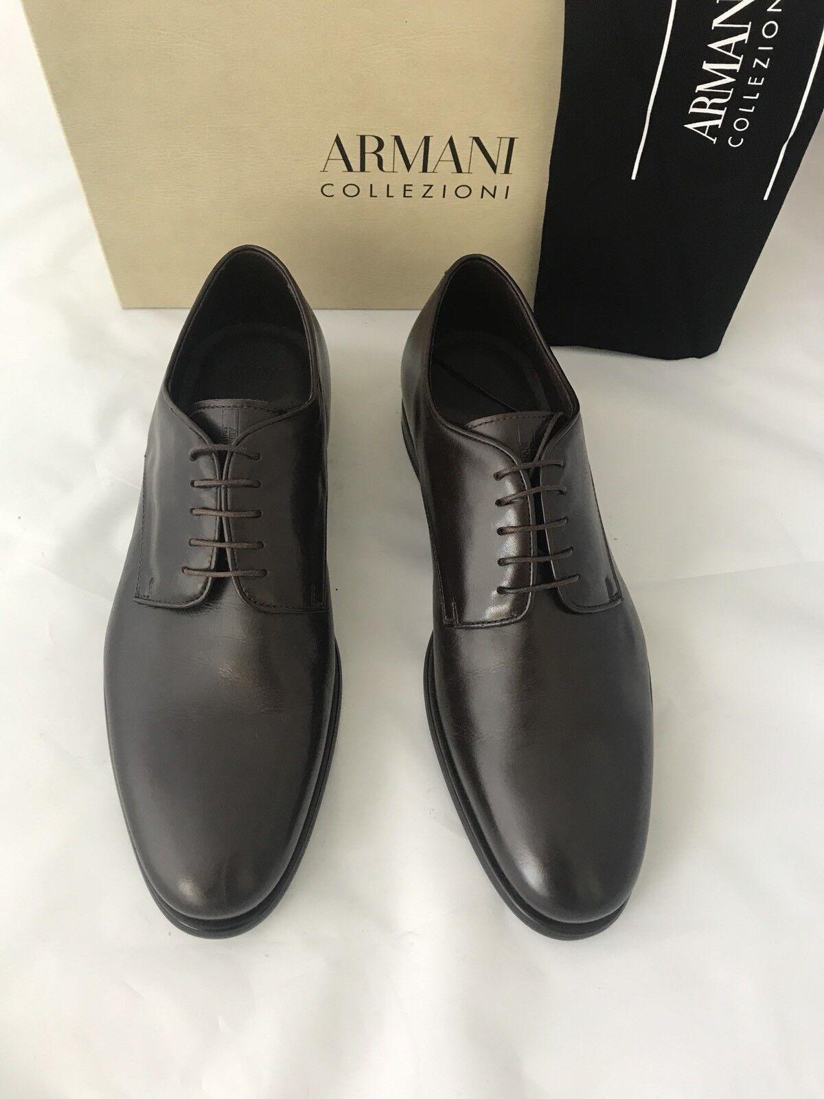 NIB $795 Armani Collezioni Leather uomo's Shoes Brown 11.5 US 44.5 Eu Italy Scarpe classiche da uomo