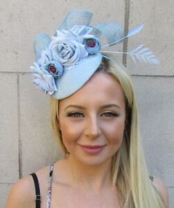 44dcb95787a9f Duck Egg Pale Light Blue Flower Feather Hat Hair Fascinator Races ...