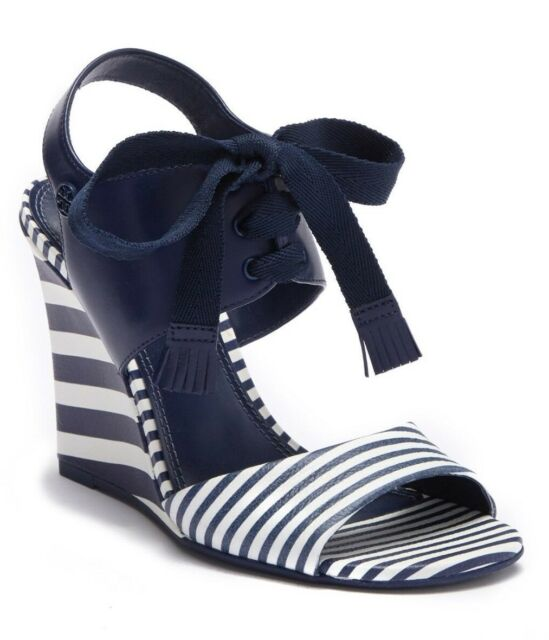 cb033d777  295 Tory Burch Womens Maritime Leather Stripe Wedge Heels Sandal Size 8.5