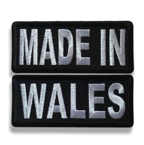 "Embroidered 3/"" Made in Wales Sew or Iron on Patch Biker Patch Set"