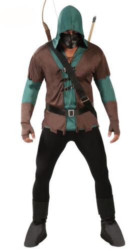 Mens Green Arrow Costume Robin Hood Fancy Dress Outfit Assassin Medieval 38-44