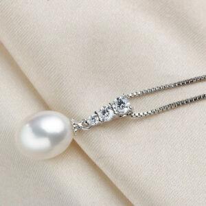 Damen-Kette-Anhaenger-925er-Sterling-Silber-Suesswasser-Perle-AAA-Silberschmuck