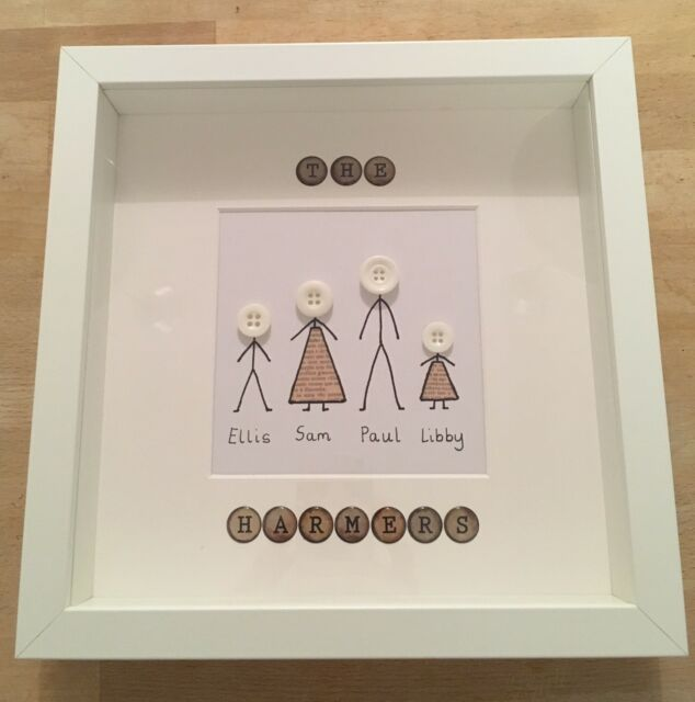 Button Family Art Framed Picture Personalised And Pet With Family Box Frame
