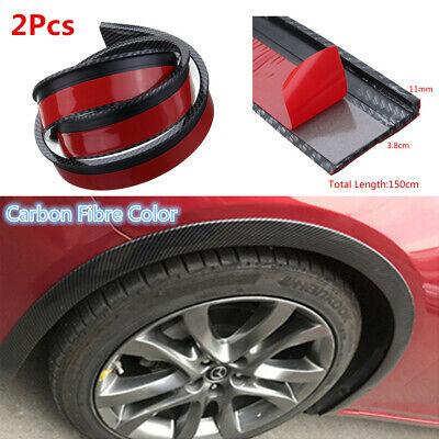 2pcs 1.5M 3.8CM Car Fender Flare Wheel Eyebrow Moulding Trim Mud Protector Lip